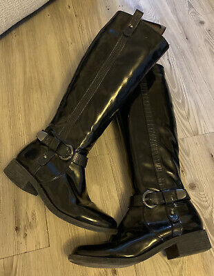 Women's RED HERRING Black Patent Leather ?? Boots Size 4 * L@@K * Vgc • 12.50£