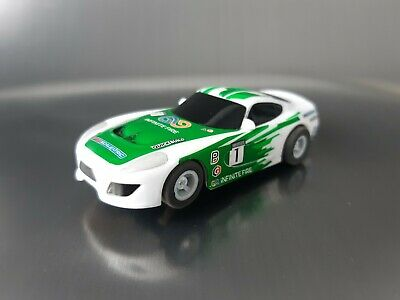 Micro Scalextric Car Dodge Viper GT White & Green Working 1:64  Free Postage • 10.50£