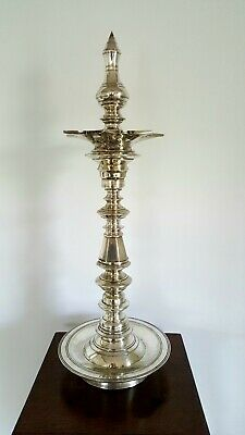 Indian Temple Oil Lamp, A Fabulous Large Antique Silver Plate Kerala Nilavilakku • 800£