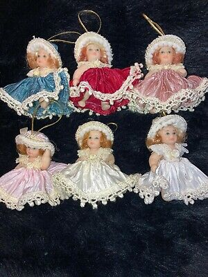 """$ CDN33.02 • Buy Lot Of 6 Poseable Porcelain Baby Doll Ornaments 2.5"""" DG Creations Collectible"""