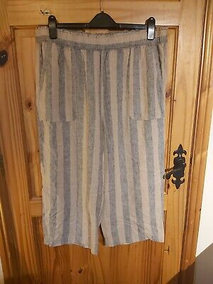 Size 18 Linen Blend Striped Cullottes, Cropped Trousers • 1£