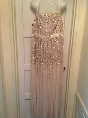MONSOON LADIES LONG NUDE  SEQUINED DRESS SIZE 16 New (wedding) • 9.99£