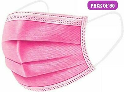 50 Pink Disposable Face Masks 3 Ply Face Covers Mask • 3.95£