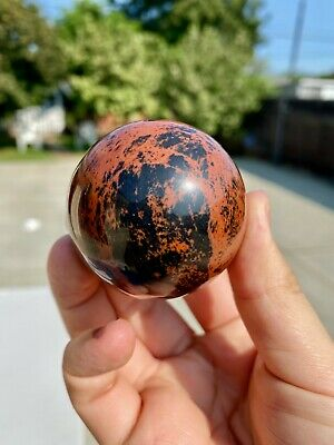 $29.99 • Buy 0.16Kg/0.35lbs High Quality Mahogany Obsidian Sphere W/ Wooden Stand