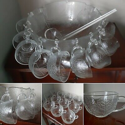 Absolutely Stunning Vintage Glass Punch Bowl Set 12 Cups, Bowl, Ladle & Hooks • 34.99£