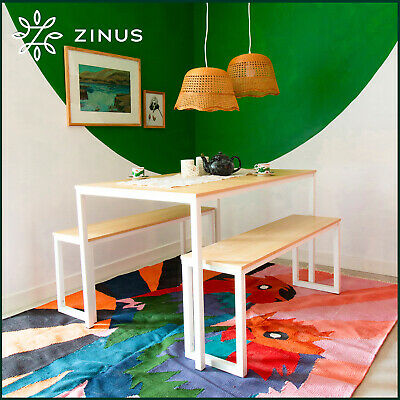 AU229 • Buy Zinus Dining Table Set Bench Metal Wood Kitchen Cafe Restaurant Industrial White
