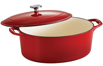 $ CDN164.87 • Buy Tramontina Gourmet 7 Qt Enameled Cast-Iron Covered Oval Dutch Oven Gradated Red