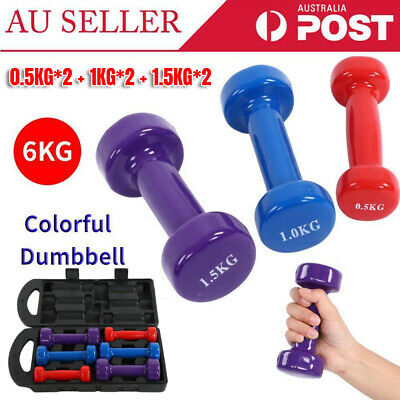 AU54.27 • Buy Set Of 6 Weights 6kg Dumbbell Anti-slip Exercise Fitness Home Gym Hand Dumbell