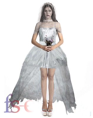 Halloween Ladies Zombie Bride Couple Costume Set Adult Fancy Dress Outfit  • 7.99£