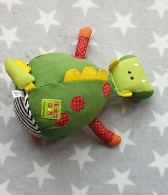 Mamas And Papas Little Land Dragon Activity Soft Toy Plush Green Rattle • 6.49£