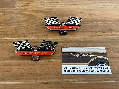 AU65 • Buy New Reproduction Ford Falcon Red Pursuit 302 Badge Pair XK XL XM XP XR XT