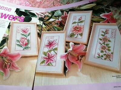 Cross Stitch Charts 4 Japanese Style  Flower Floral Charts Only  • 1.99£