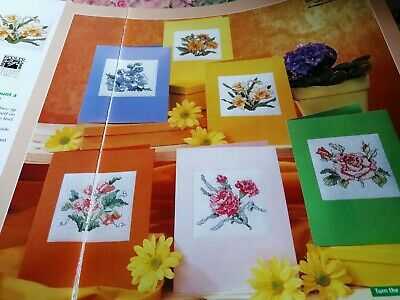 Cross Stitch Chart 6 Floral Flower Card Charts Only Pretty Designs • 1.99£