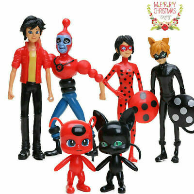 6PCS Miraculous Ladybug Tikki Noir Cat Plagg Adrien Movie Action Figure Toy Gift • 7.59£