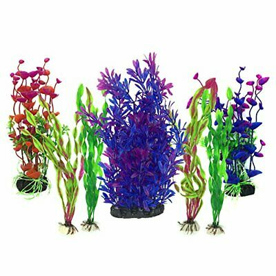 Artificial Aquatic Plants, PietyPet 7 Pcs Large Aquarium Plants Plastic Fish • 15.08£