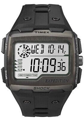 Timex TW4B02500 Men Grid Shock LCD/Black Dial With Black Resin Strap Watch BNIB • 20£