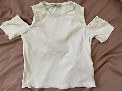 AU15 • Buy Pull And Bear White Cold Shoulder Short Sleeve Ribbed Top Size S