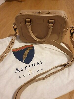 Aspinal Of London Mini Sofia Bag In Safiano And Smooth Beige Leather • 20£