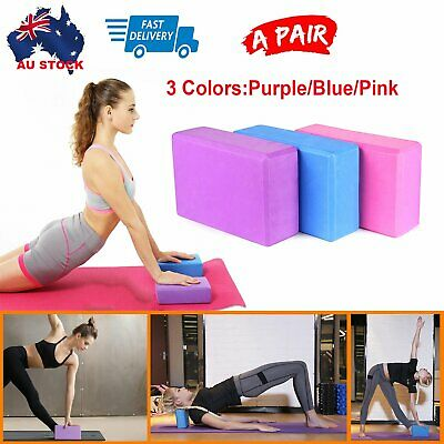 AU14.99 • Buy VIVA 2Pcs Yoga Block Brick Foaming Home Exercise Practice Fitness Gym Sport Tool