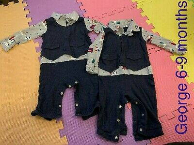 Smart All In One Outfit Twin Boys Christmas 6-9 Months George • 4£