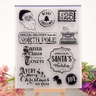 Christmas Santa Transparent Silicone Clear Stamp Scrapbook Embossing Album~bL!Y • 3.82£