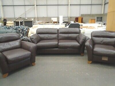 Next Brown Leather 3 Piece Suite - Sofa And 2 Armchairs • 149.99£