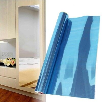 Reflective Mirror Tile Wall Sticker Self-adhesive Bedroom Decor Stick On Art TR1 • 7.62£