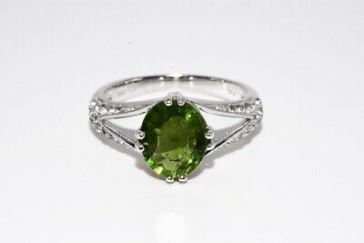 4.10ct Natural Peridot & White Topaz Cocktail Silver Ring Size 8 • 7.69£