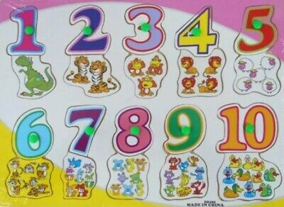 £4.90 • Buy Children Wooden Board Peg Puzzle Jigsaw 1 - 10 Numbers Baby Kid Educational Toys