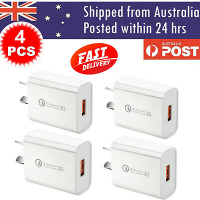 AU24.50 • Buy 4 / 6 PACK White Qualcomm Quick Charge QC 3.0 Super Fast USB Wall Charger 18W AU
