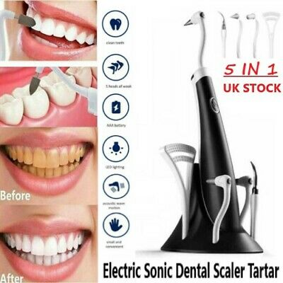 Electric Sonic Dental Scaler Tartar Calculus Plaque Remover Stains Cleaner Teeth • 12.49£