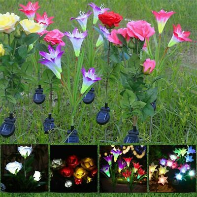 4 LED Solar Power Lily Flower Stake Lights Outdoor Garden Path Luminous Lamps  • 3.29£
