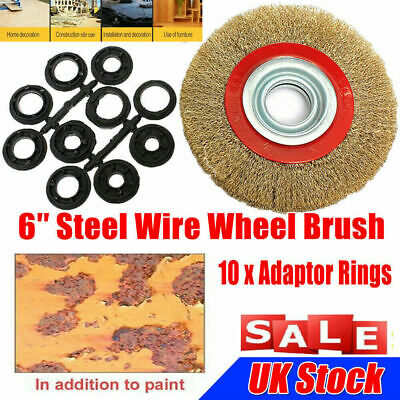Wire Brush Wheel 6  150mm For Bench Grinder Polish & 10pc Reducers Adaptor Rings • 4.59£