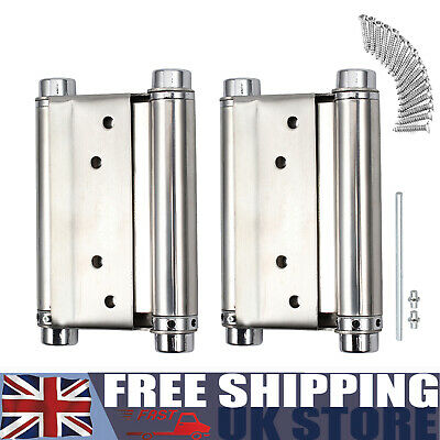 2X 3'' DOUBLE ACTION Spring Hinge Saloon Swing Door Kitchen Gate+Screws • 11.25£