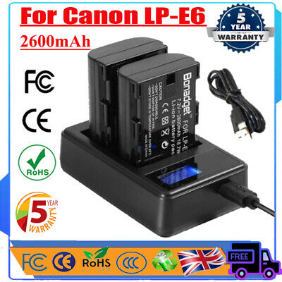 2X 2600mAh 7.4V LP-E6 Battery +LCD Dual Charger For Canon EOS 70D 60D 80D Camera • 15.49£