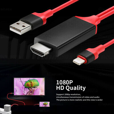 Lighting  To HDMI Digital TV AV Adapter 2m Cable For Smart IPad IPhone 5 6 7 8 X • 5.97£