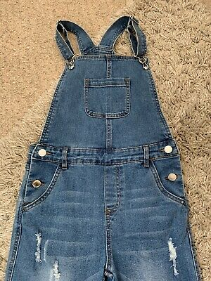 Girls Denim Blue Dungarees Age 10-11 Rip Effects, Worn Only A Couple Of Times • 3£