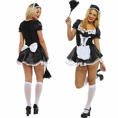 French Maid Fancy Dress Costume Womens Outfit Plus Size Sexy Waitress Hen Rocky • 14.99£