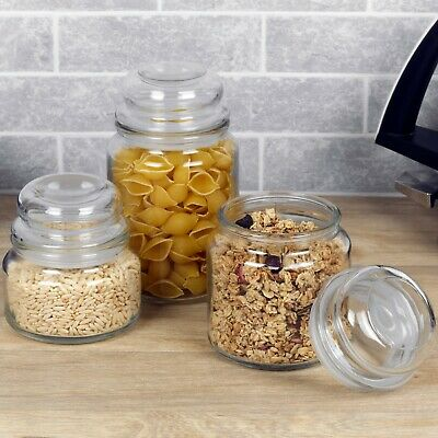 Retro Clear Glass Sweets Food Storage Jar Air Type Lid Kitchen Home Appliances   • 11.49£