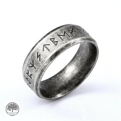 Viking Norse Vintage Silver Stainless Steel Runes Rune Mens Womens Ring Band • 8.95£