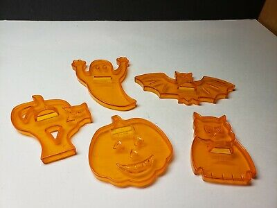 $ CDN13.15 • Buy Vintage Lot 1960s Hard Plastic Halloween Cookie Cutters Jack O Lantern Ghost