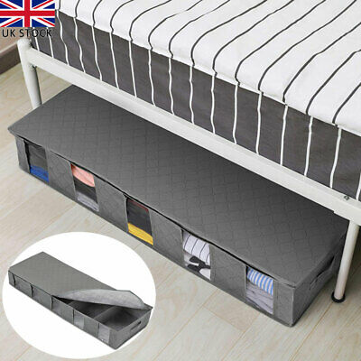New Large Capacity Under Bed Storage Bag Box 5 Compartments Clothes Organizer UK • 8.96£