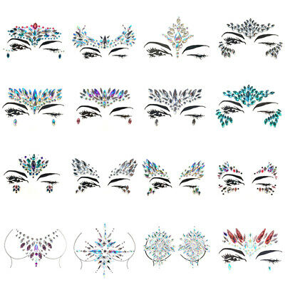 Body Jewel Face Gems Adhesive Glitter Sticker Tattoo Festival Rave Party Make Up • 2.09£