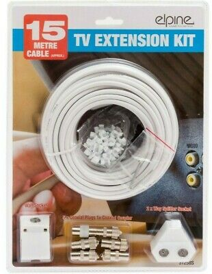 15m Tv Aerial Coaxial Cable Extension Kit Freeview Cable Plugs Coax Lead 31258s • 7.95£