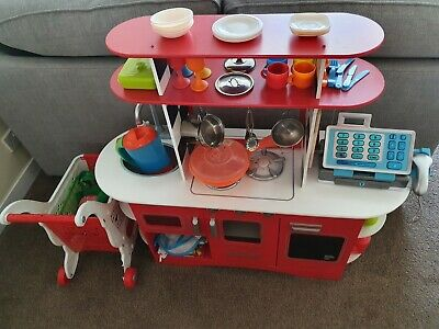 Early Learning Centre Kitchen With Accessories Inc Trolley, Till And Scanner • 35£