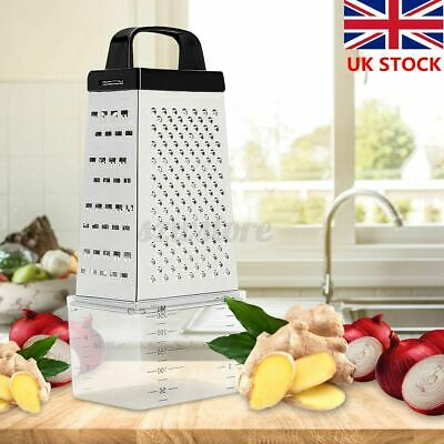 £6.79 • Buy 4 Sided Stainless Steel Manual Vegetable Cheese Grater With Container Box Tray