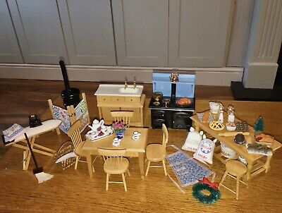 Dolls House Kitchen Furniture Table Chairs Food Accessories Job Lot 12th Scale • 27£