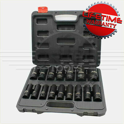 DEEP IMPACT SOCKET Set 1/2 Dr 16pc 10mm-32mm 6pt Hex Long Reach Sockets • 26.99£