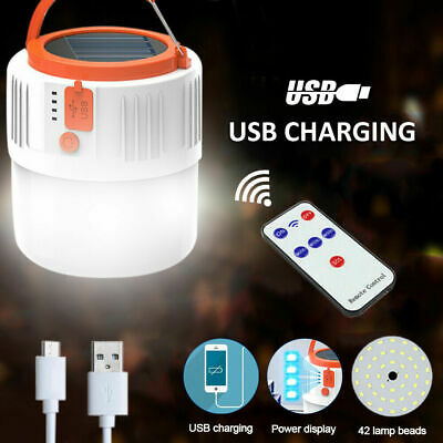 Solar Power Camping Lamp 42LED Torch Rechargeable Power Bank Tent Light Outdoor • 13.99£