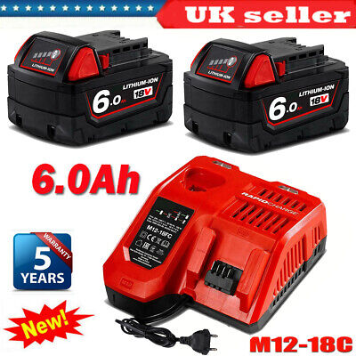 2X For Milwaukee M18B6 18V XC 6.0 AH Battery Lithium 48-11-1860 1828 Or Charger • 45.99£